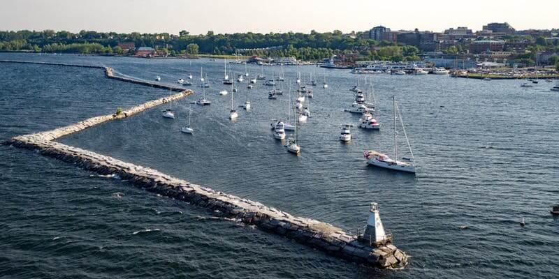 View of lake champlain and sailboats